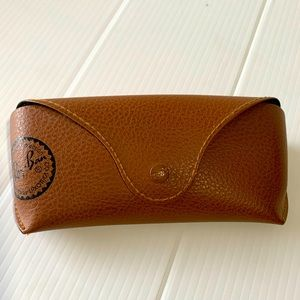Ray-ban Brown Faux Leather Snap Sunglasses Case
